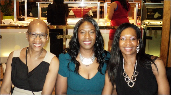 Enjoying my birthday with older sisters Jennifer (left) aged 55 and Rosemarie (right) aged 54